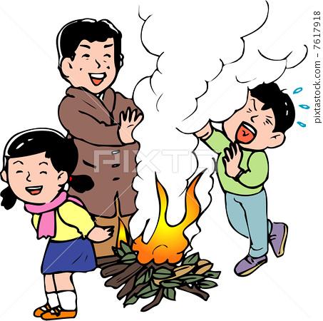 卡通篝火简笔画