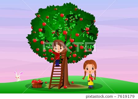 插图: 苹果树上 儿童 摘苹果