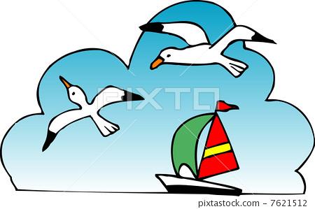 海鸥的卡通图案