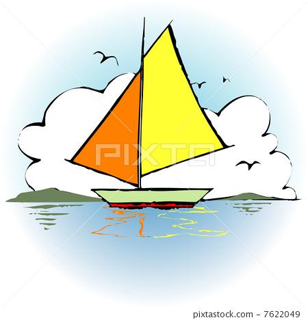 插图素材: 游艇 船 划船