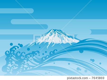 插图素材: 矢量 富士山 蓝色