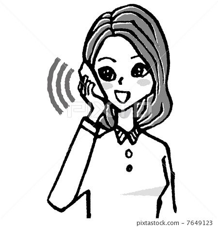 图库插图: 智能手机 电话 女生