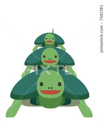 父母和小孩 乌龟 驾