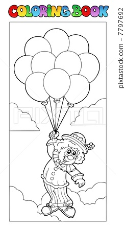 插图素材: coloring book with flying clown