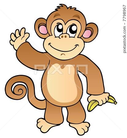猴子 矢量图 stock 插图