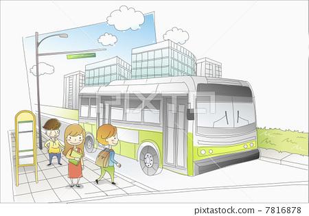 公交车站设计手绘图 公交车站简笔画