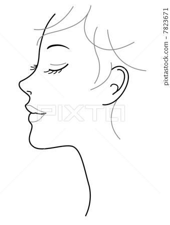 女人手绘头像侧脸意境