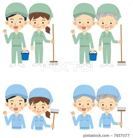图库插图: 清洁人员 男人和女人 男女