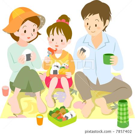 家庭 野餐 父母和小孩