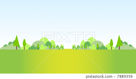 插图素材: 草地 山 矢量