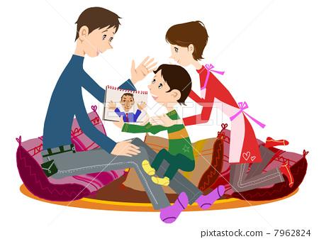 stock illustration: happy family, in harmony, family