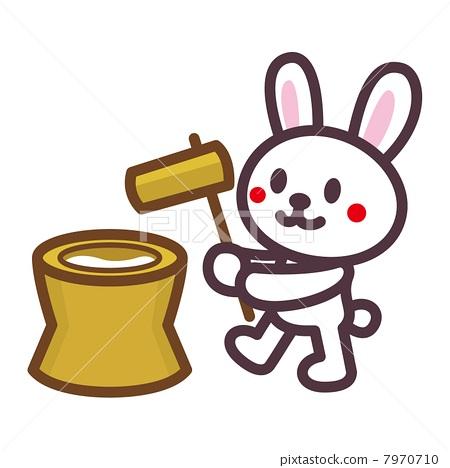 图库插图: 捣年糕 矢量 兔子