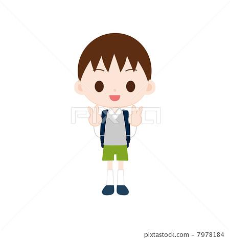 图库插图: 书包 男孩 胜利手势
