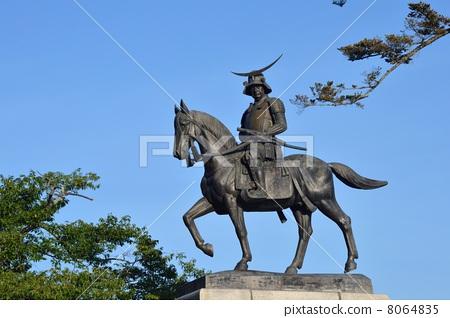 图库照片: 日期骑马雕像 伊达政宗 骑马的雕像