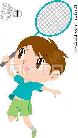 图库插图: 羽毛球 积极 活跃