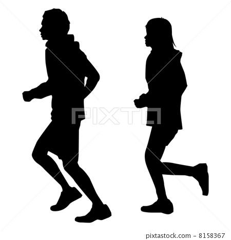 插图素材: 慢跑 马拉松赛跑 剪影