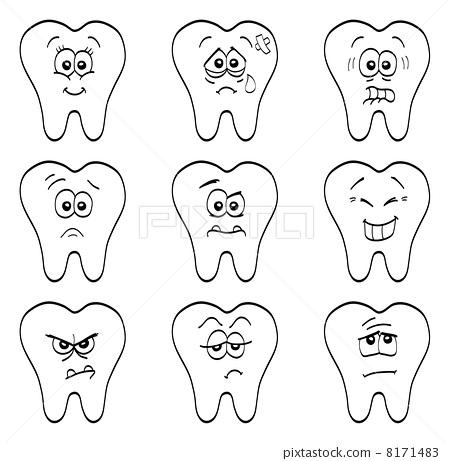 o teeth简笔画涂色-Aquafresh little Teeth logo