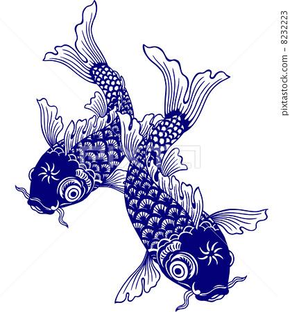 插图素材: 鲤鱼 矢量 白背景
