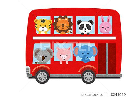 图库插图: 双层巴士 动物 插图