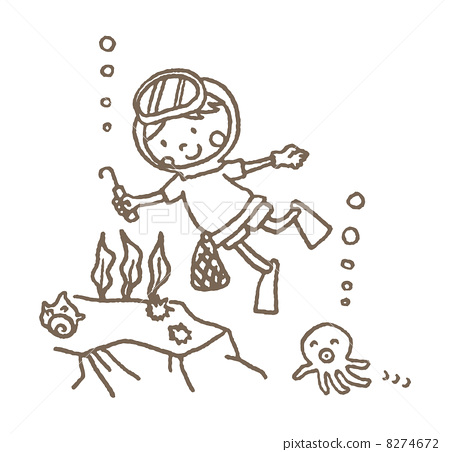 女性潜水员 钢笔画 女性