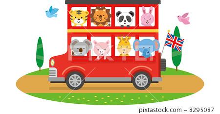 插图 工艺品 动物 旅游大巴 矢量 双层巴士
