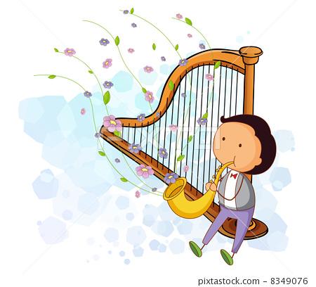 竖琴创意速写素材