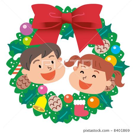 儿童 圣诞花环 圣诞节
