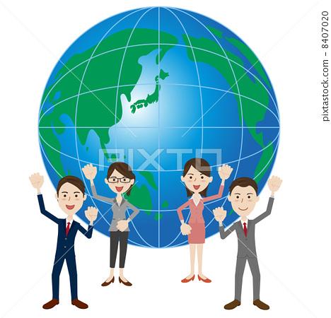 图库插图: 握拳 矢量 世界商务