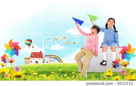 儿童 纸飞机 孩子