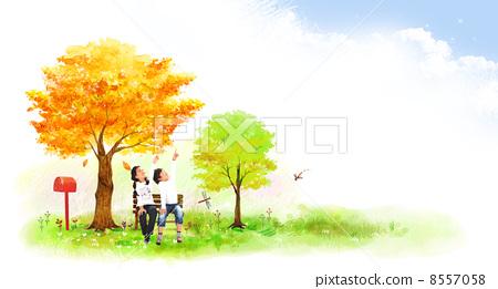 照片 关键词 秋, 孩子, 秋天, 儿童, 云, 青草, 树木, 椅子, 叶子
