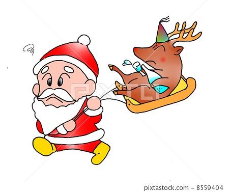 插图: 驯鹿 圣诞老人 雪橇