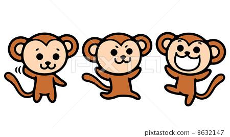 图库插图: 猴子 矢量 切