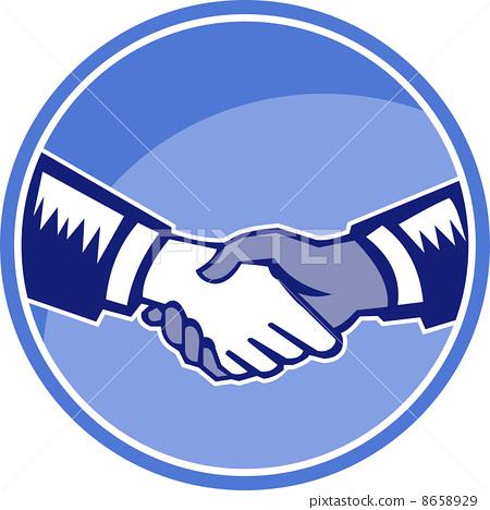 蓝色商业握手矢量素材