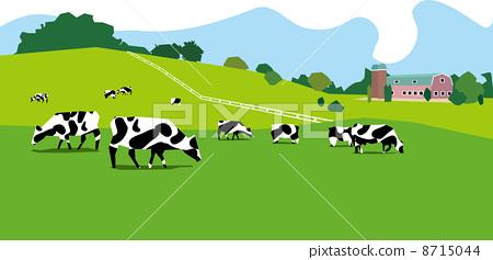 图库插图: 奶牛 矢量 草原