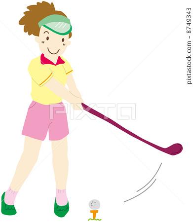 图库插图: 高尔夫球手 高尔夫 人