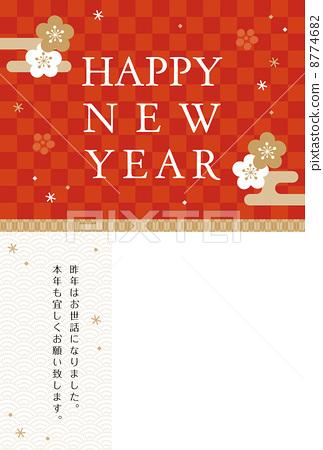 新年贺卡 备忘录 日本风格