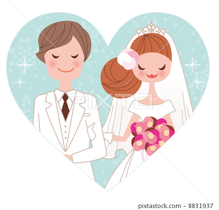 新郎新娘结婚照简笔画