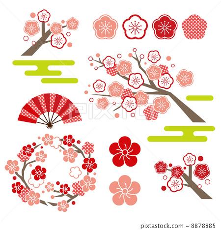 日本杏花 折扇 日本扇子