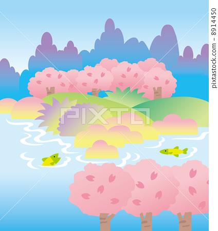 樱花 樱桃树 鱼