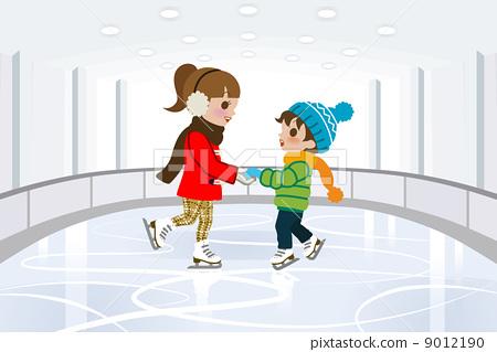 滑冰人矢量图素材
