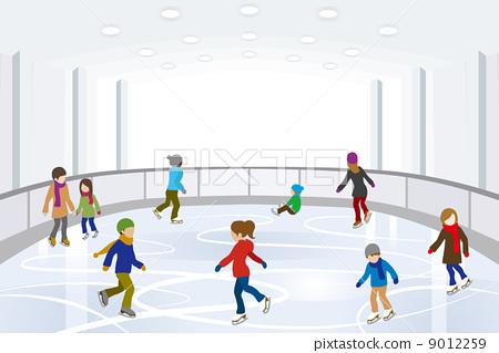 插图 矢量图 人物 滑冰场 滑冰