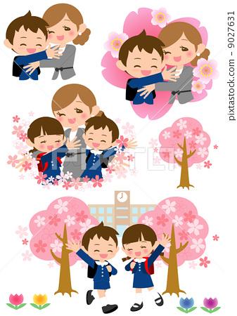 樱桃树 父母和小孩