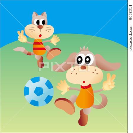 图库插图: 和平标志 胜利手势 足球