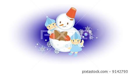 冬天 雪人-插图图库