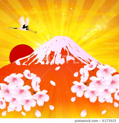 插图素材: 富士山 樱花 樱