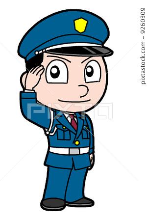 卡通保安敬礼头像_图片素材