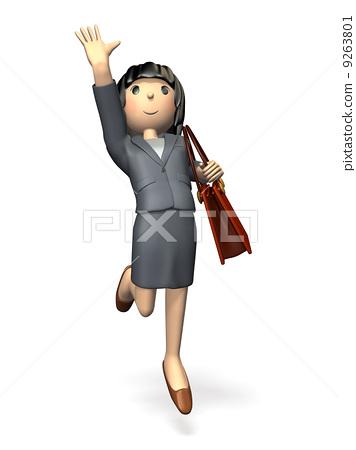 插图素材: 举手 伸手 商务套装