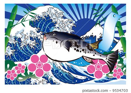 河豚鱼 日本渔民大收获的标志 大收获标志