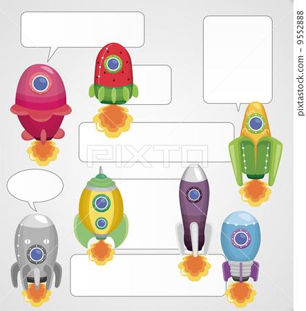 卡通 宇宙飞船 火箭