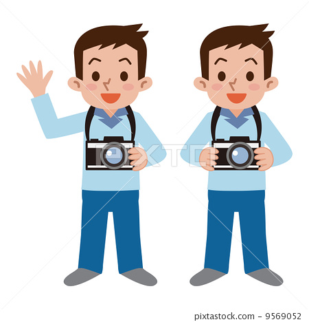 挂着相机的卡通人物